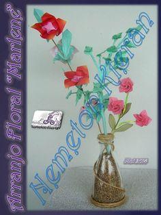 Origami Books, Origami Flowers, Flower Arrangements, Glass Vase, Home Decor, Flowers, Floral Arrangements, Decoration Home, Room Decor