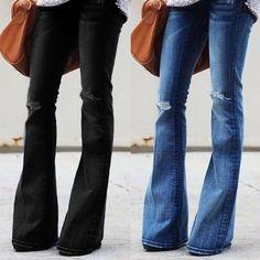 Elegante women/'s Jeans Slim Fit Vita Bassa bell-bottom Jeans Pantaloni Pantaloni casual