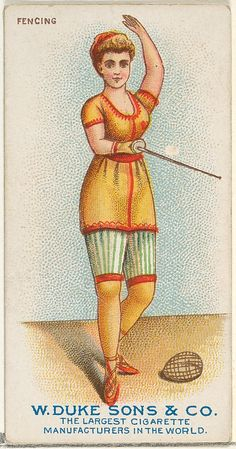 Fencing, from the Gymnastic Exercises series (N77) for Duke brand cigarettes 1887