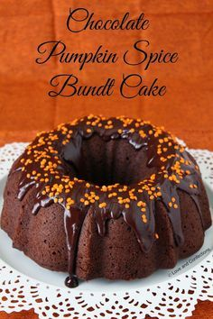 Chocolate Pumpkin Spice Bundt Cake by Love and Confections!