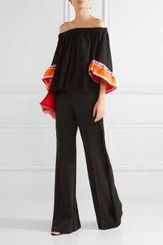Emilio Pucci - Off-the-shoulder Twill-trimmed Silk-georgette Top - Black - IT40