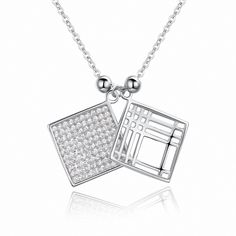 Sterling Silver Hollow Pair Squares Pendant Necklace Jewelry