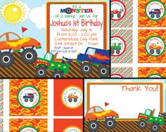 Monster Truck Birthday Invite with FREE Cupcake by MouwDesigns