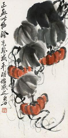 Qi Baishi (b. 1864-1957) Pumpkin Mounted for framing;ink and colour on paper. 齊白石 (b. 1864-1957) 南瓜 鏡心 設色紙本 69 x 35 cm. 27 1/8 x 13 3/4 in. 約2.2平尺 鈐印:齊大 題識:正畫此幅,燈光忽滅,平明始成之。白石。