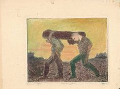 Marco Zim Etching Russian Painter WPA Era 1930s Woodchoppers Tinted Artist Proof