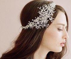 Свадьба романтический кристалл горный хрусталь цветок повязка на голову невесты бусины ручной работы волос ювелирные изделия свадебный волосы аксессуары купить на AliExpress