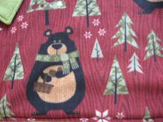 www.catchinglizards.com BEAR COUNTRY CHRISTMAS Catnip Blanket  Adorable Bears in a Winter Christmasy Theme .  Silky Soft Fleece The Reverse Side is a Soft Green Fleece as well Each Blanket has a Generous Hand Full of Organic Catnip Grown in Montana Inside ONLY THE BEST  18″ X 24″ IN SIZE