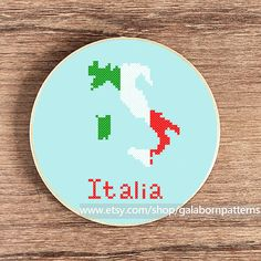 Tittle: Italy map  Collection: Around the world    This PDF counted cross stitch pattern available for instant download.    Skill level: Beginner.    Floss: DMC    Fabric: 14-count    Hoop: 6 inches    SIZE:  Design Area: 56h x 37w stitches.  Area of embroidered image: 4,0 x 2,7
