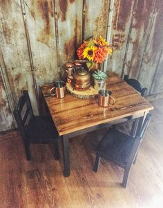 Kids table makeover from an old one. Make your old table better then new adding a new table top! Kid Table, Dining Table, Old Ones, Farmhouse Table, Diy For Kids, Easy Diy, Make It Yourself, Rose, Photos