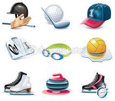 Vector conjunto de ícones de estilo dos desenhos animados. parte 37. esporte