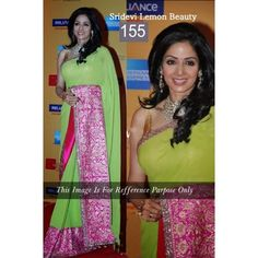 Sridevi Green and Pink Bollywood Replica Saree