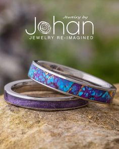 Jewelry by Johan's unique wedding bands have exotic inlays, like pruple box elder and gem alloys. #JewelrybyJohan Unique Wedding Bands, Titanium Rings, Color Of The Year, Pantone Color, Purple Wedding, Ultra Violet, Purple Flowers, Gem, Exotic