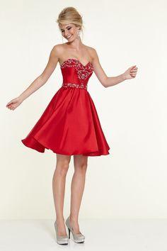 2015 cariño una línea corta / mini vestido de fiesta raso con cristal rebordear