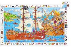 £10.00 DJECO Pirates Observation Jigsaw Puzzle DJ07506 - A fantastic pirate observation puzzle, once the jigsaw is assembled, the kids can then work their way around the edges finding all the items in the picture.
