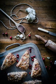 roasted pear & cranberry chocolate chunk scones