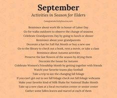 Activities to enjoy in September with seniors and the elderly