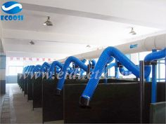 Ecoosi industrial flexible PVC polyester fabric ventilation duct hose---industrial ventilation tarpaulin air hose is extremely flexible and very light, it is resistant to adverse weather conditions and easy to connect to other hoses. Tarpaulin, Air Conditioning System, Vinyl Fabric, Blue Fabric, Lab, Workshop, Atelier, Work Shop Garage, Labs
