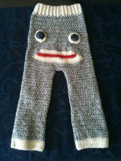 sock monkey crochet pants