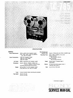 Sony TC-765 reel to reel tape recorder Service Manual 100 per cent satisfaction guaranteed  100 DOWNLOAD