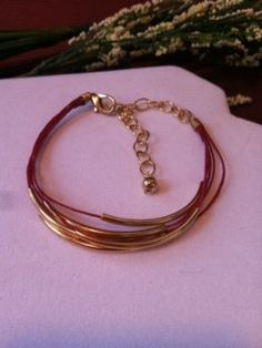 Red and Gold Leather Bracelet by Bellaandemmajewelry on Etsy, $15.00