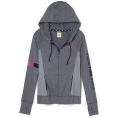 PINK Ultimate Full-Zip Hoodie ($60) ❤ liked on Polyvore featuring tops, hoodies, full zip hoodie, slim fit hoodies, hooded pullover, full zip hooded sweatshirt and graphic hoodies