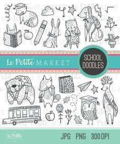 Cute Hand Drawn Woodland Clipart, Woodland School Clipart, Back to School Illustration, Woodland Animals Illustration, School Animals
