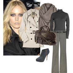 Winter style. Heel boots, long wide leg trousers, turtle neck jumper.