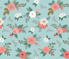 Spring Bouquets in Aqua fabric by willowlanetextiles on Spoonflower - custom fabric