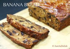 Banana Bread with Dark Chocolate Chunks is a great treat for breakfast or as a snack. This gluten free bread will is sweet and delicious. Dark chocolate chunks make this easy banana bread a delicious treat.