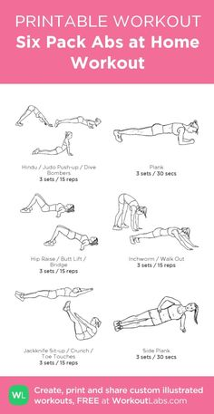 Six Pack Abs at Home Workout – my custom workout created at WorkoutLabs.com • Click through to download as printable PDF! #customworkout by jeannine
