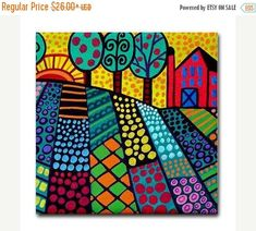 HUGE SALE- Landscape art Tile Ceramic Coaster Mexican Folk Art Print of painting by Heather Galler Ceramic Coasters, Mexican Folk Art, Naive Art, Whimsical Art, Art Plastique, Teaching Art, Elementary Art, Tree Art, Landscape Art