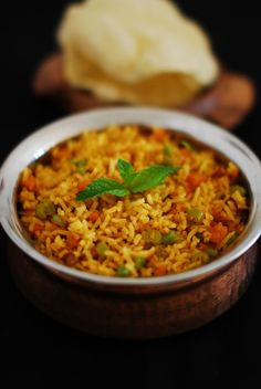 Masala Pulao - A One Pot Spicy Variety Rice Recipe. It goes well with raita, pappad and pickle. Veggie Recipes Healthy, Vegan Indian Recipes, Raw Food Recipes, Pasta Recipes, Vegetarian Recipes, Cooking Recipes, Ethnic Recipes, Rice Recipes, Carrot Recipes