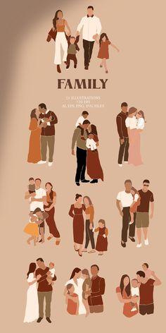 Family Poster, Family Print, Family Family, Family Illustration, Illustration Art, Illustrations, Baby Prints, Nursery Prints, Logo Familia