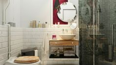 Designing For Super Small Spaces: 5 Micro Apartments: Interior Design Ideas Small Apartment Layout, Small Apartment Interior, Small Apartment Decorating, Small Apartments, Small Spaces, Brick Bathroom, Bathroom Layout, Bathroom Interior Design, Small Bathroom