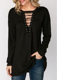 Lace Up Black Long Sleeve T Shirt on sale only US$24.59 now, buy cheap Lace Up Black Long Sleeve T Shirt at liligal.com