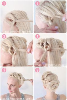 The Beauty Department: Your Daily Dose of Pretty. - KNOT TIE UPDO FOR SHORT HAIR. Would be a great updo hair for a wedding but instead I would twist the front part loosely instead of braiding all of it! Up Hairstyles, Pretty Hairstyles, Braided Hairstyles, Hairstyle Ideas, Step Hairstyle, African Hairstyles, Wedding Hairstyles, Love Hair, Great Hair