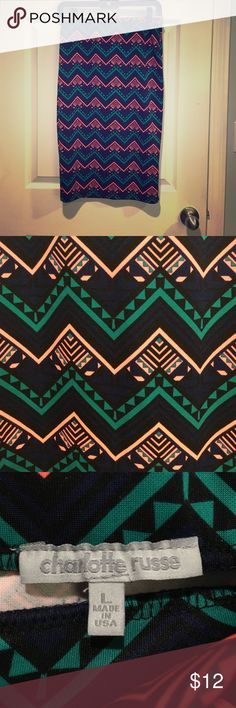 Aztec fitted skirt Aztec patterned fitted pencil skirt. Stretchy material and cute pattern. Navy blue, black, teal, and coral. Never worn. Charlotte Russe Skirts Pencil