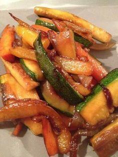 J'adore faire des poêlés de légumes ! On peut les varier à l'infini ! J'ai fais cette recette avec ce qu'il y avait comme légumes dans mon frigo !! Pour 2 pers 0 pp - 1 oignon - 2 courgettes - 1 poivron - 2 carottes - 1 c à c d'huile d'olive - 2 c à s...