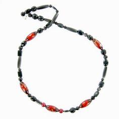 Collier création artisanal sautoir en onyx et pierre de verre,  bijoux créateur fait main. Pièce unique.
