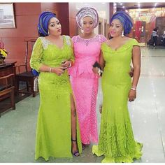 Aso Ebi Lace Styles for Wedding Guests : Classical Styles