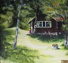 Sugar Loaf Cottage Acrylic on canvas Painting Digital, Country Roads, Cottage, Sugar, Fine Art, Canvas, Plants, Tela, Casa De Campo