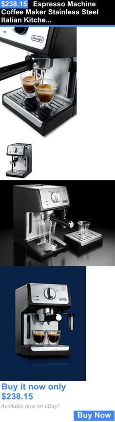 Small Kitchen Appliances: Espresso Machine Coffee Maker Stainless Steel Italian Kitchen Black 15 Bar Pump BUY IT NOW ONLY: $238.15