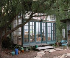 reclaimed windows as reading room or even a green house (with doors)