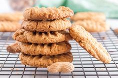 Stack of peanut butter cookies, garnished with peanut shells, on a cooling raqdck Peanuts, Homemade Sausage Rolls, Cookie Recipes For Kids, Best Peanut Butter Cookies, Snack, Kids Meals, Sweets, Baking, Breakfast
