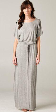 Modest Grey Boyfriend Maxi Dress with Short Sleeves   Mode-sty #nolayering