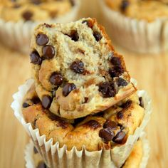Banana Oat Greek Yogurt Muffins Recipe Breakfast and Brunch, Breads with plain greek yogurt, bananas, large eggs, rolled oats, brown sugar, baking powder, baking soda, chocolate chips