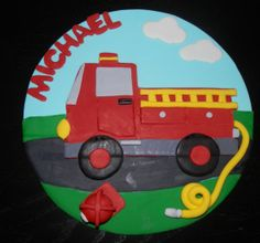 Fire Truck Fondant Cake Topper  Item 214 by arleenstoppers on Etsy, $35.00