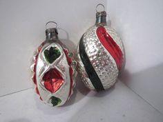 2 Unique Antique Vintage Mercury Glass Twisted Bumpy Christmas Ornaments