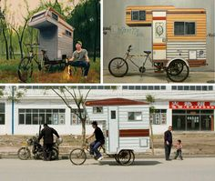 Small mobile homes: bike trailers and shopping cart campers.