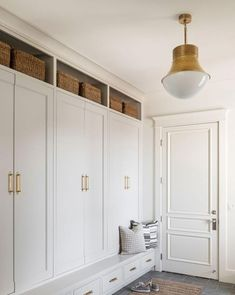 Precision Pendant Small Polished Nickel in 2020 Mudroom laundry room Home Living room design Mudroom Cabinets, Mudroom Laundry Room, Laundry Room Design, Mud Room In Garage, Mud Room Lockers, Built In Lockers, Mudroom Cubbies, Modern Laundry Rooms, Built In Cabinets